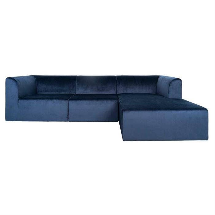 Alma 3-personers sofa Kongeblå Velour -chaiselong højre