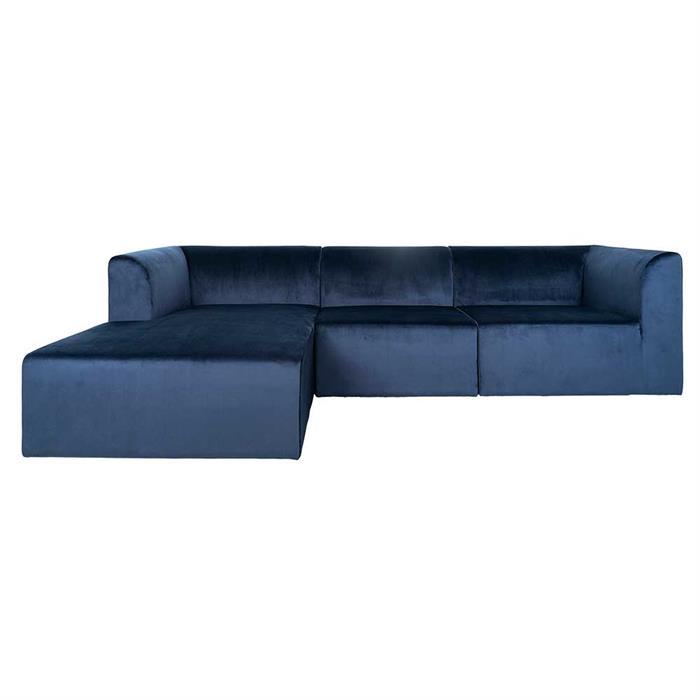 Alma 3-personers sofa Kongeblå Velour -chaiselong venstre