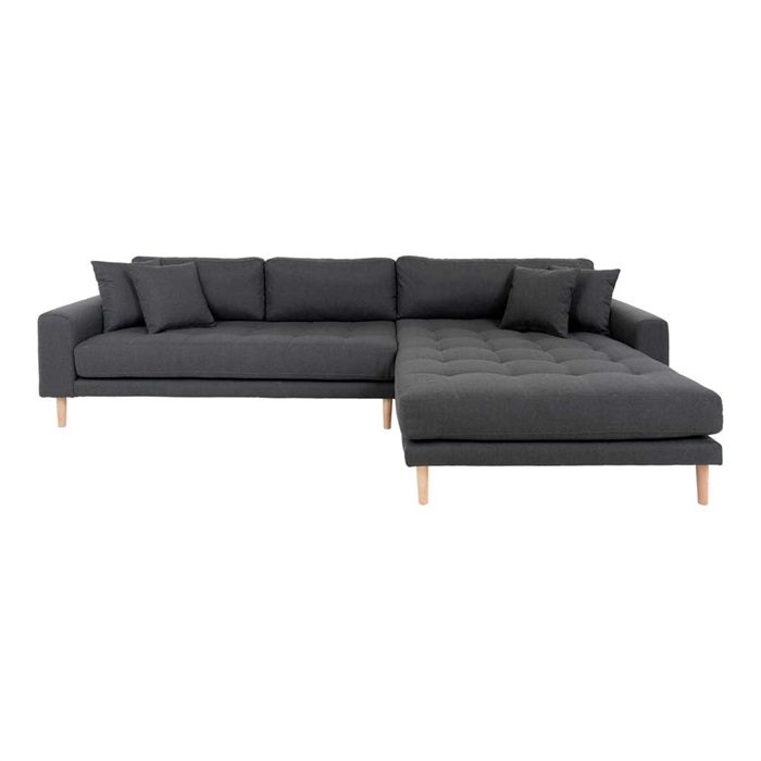 Lido 3-personers Sofa med Chaiselong Højre – Mørkegrå