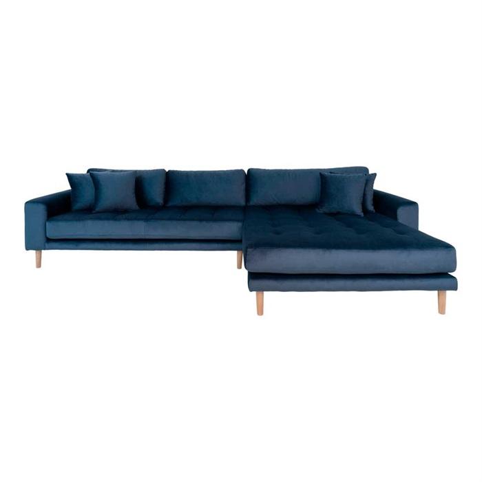 Lido 3-personers Velour Sofa med Chaiselong Højre – Mørkeblå