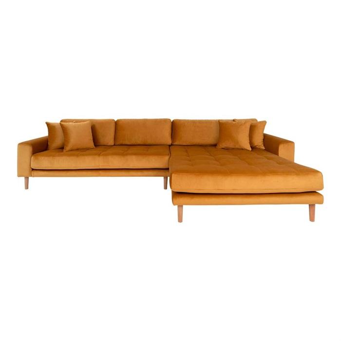 Lido 3-personers Velour Sofa med Chaiselong Højre – Sennepsgul