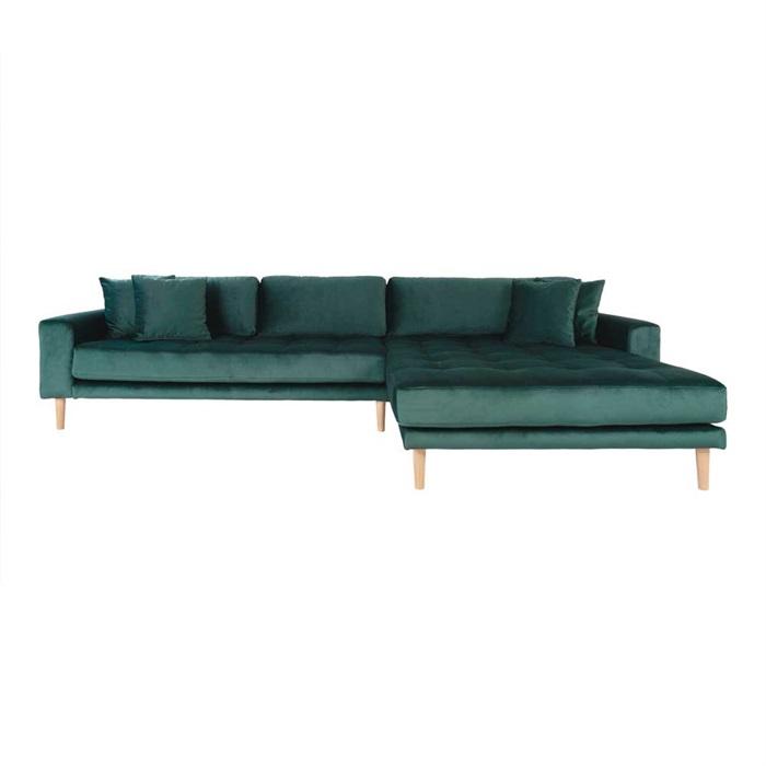 Lido 3-personers Velour Sofa med Chaiselong Højre – Grøn
