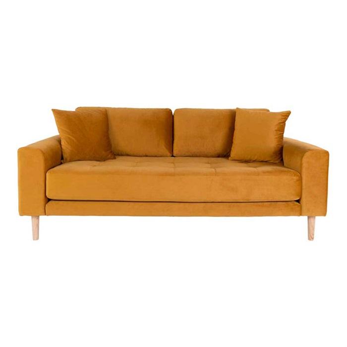 Lido 2,5-personers Velour Sofa – Sennepsgul