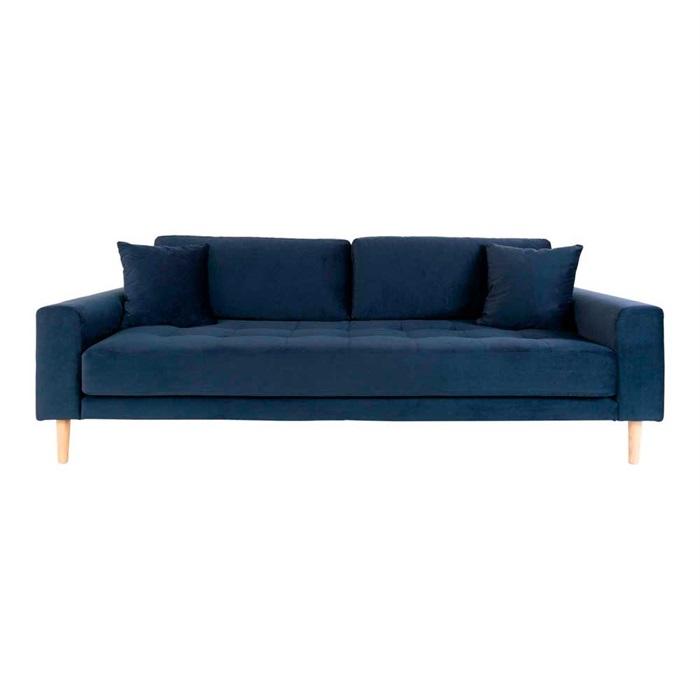 Lido 3-personers Velour Sofa – Mørkeblå