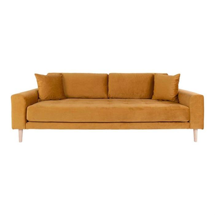Lido 3-personers Velour Sofa – Sennepsgul