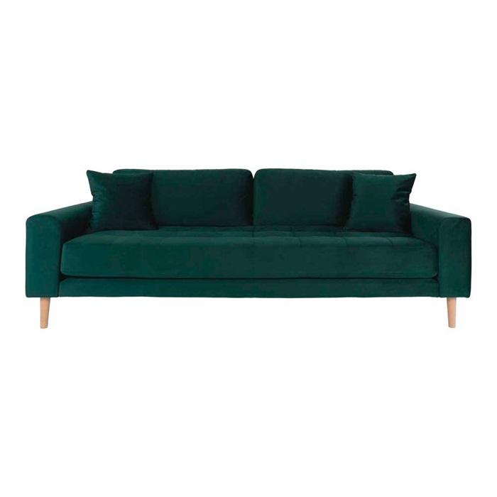 Lido 3-personers Velour Sofa – Mørkegrøn