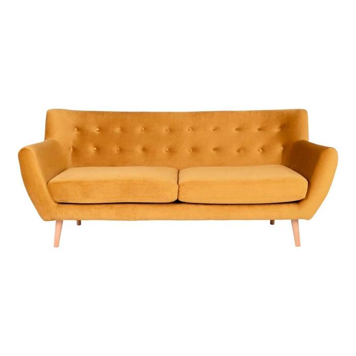Monte 3-personers Sofa 180 cm. – Velour Sennepsgul