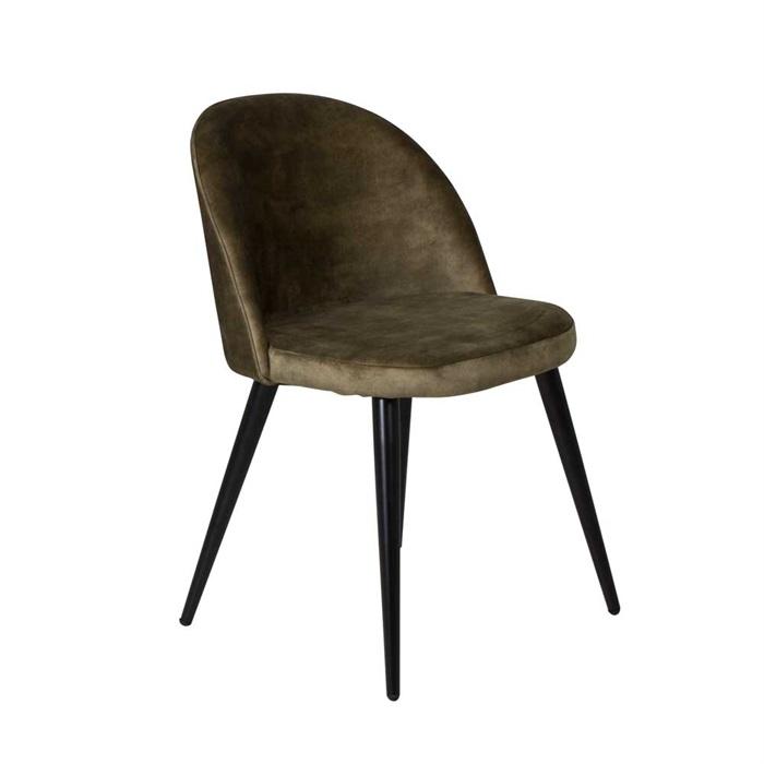 Velvet Spisebordsstol i Støvet Grøn Velour