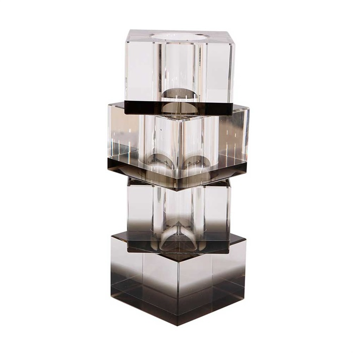 Flora vase 20 cm krystalglas - sort
