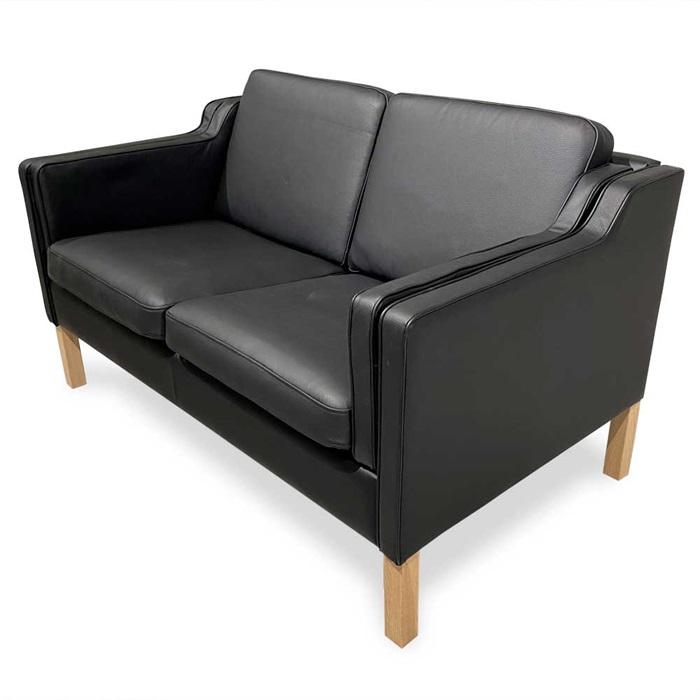 Boston 2-personers Sofa i Sort Læder