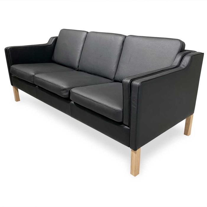 Boston 3-personers Sofa i Sort Læder