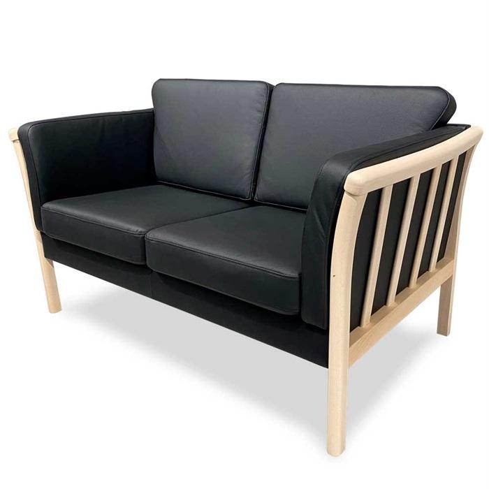 Denver 2-personers Sofa i Sort Læder