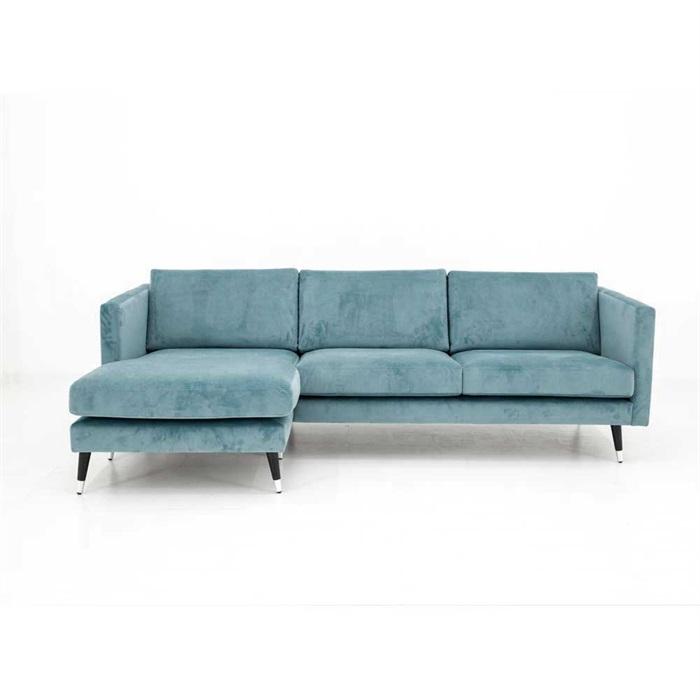 Maison 3-personers Sofa med Chaiselong Venstre i blå Velour