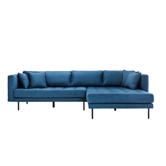 Matteo 3 personers sofa med Chaiselong højre – Blå