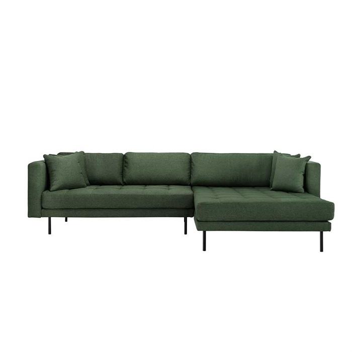 Matteo 3 personers sofa med Chaiselong højre – Grøn