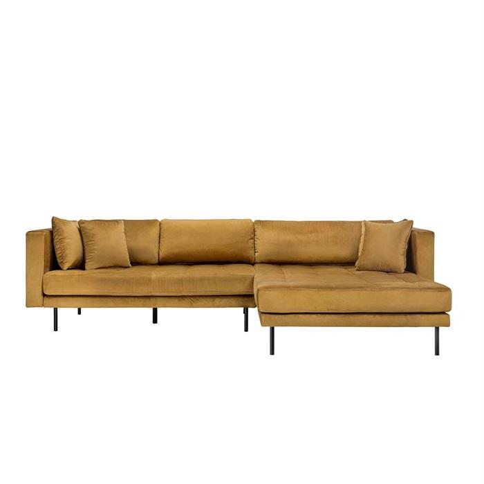 Matteo 3 personers sofa med Chaiselong højre – Gul Velour