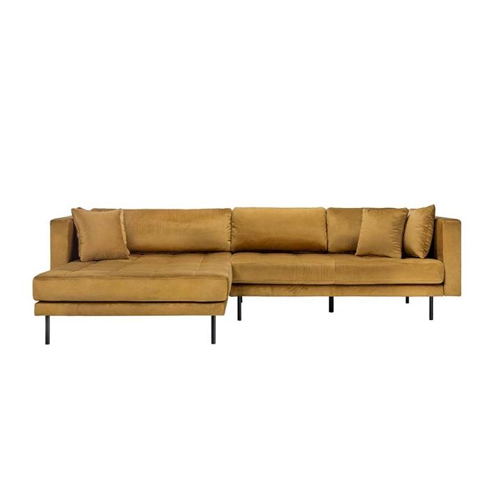 Matteo 3 personers sofa med Chaiselong Venstre – Gul Velour