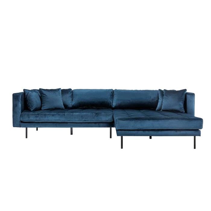 Matteo 3 personers sofa med Chaiselong højre – Blå Velour