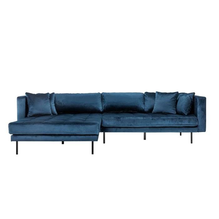 Matteo 3 personers sofa med Chaiselong venstre – Blå Velour