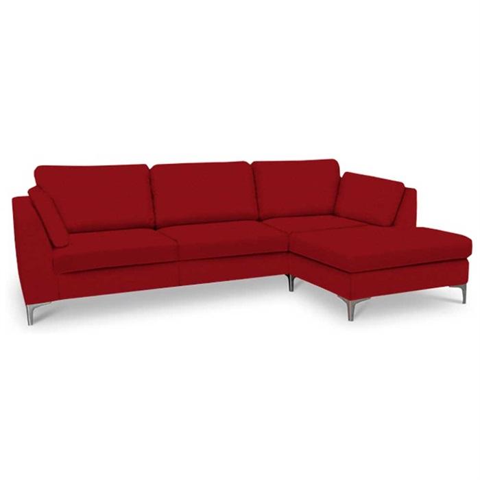 Noah 3-personers sofa (på lager) med Chaiselong højre – Rød