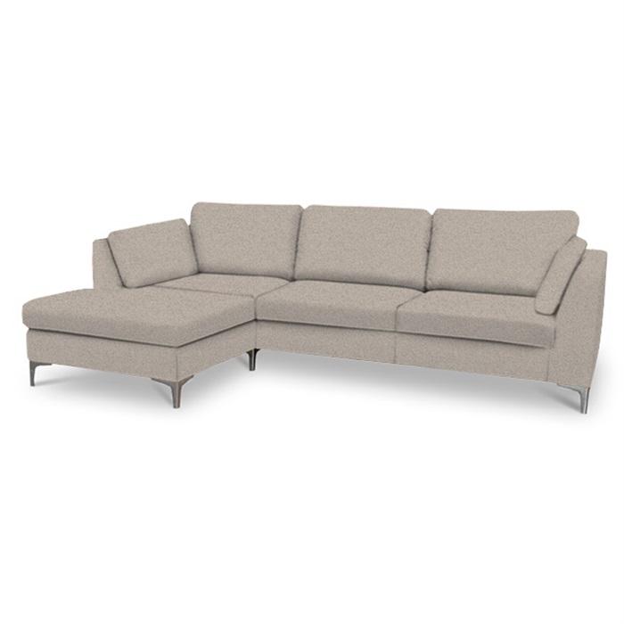 Noah 3-personers sofa (på lager) med Chaiselong venstre – Grå/brun