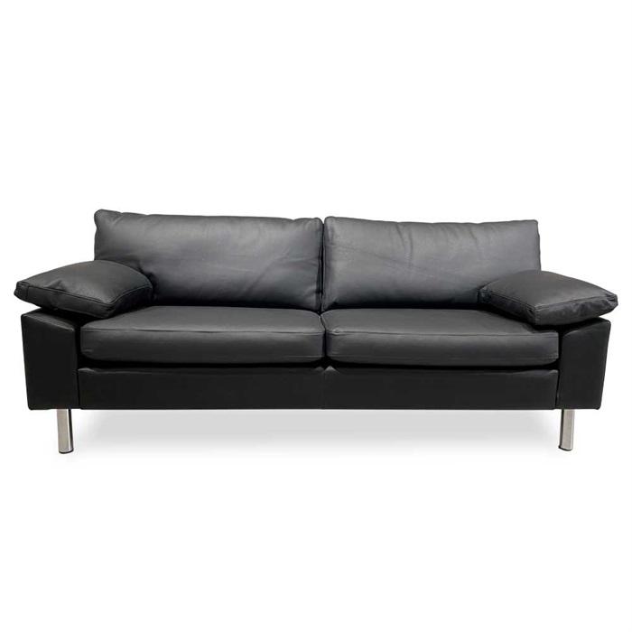 Oregon 3-personers Sofa i Sort Læder