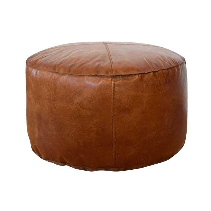 Rund læderpuf i lys brun Ø 50 cm