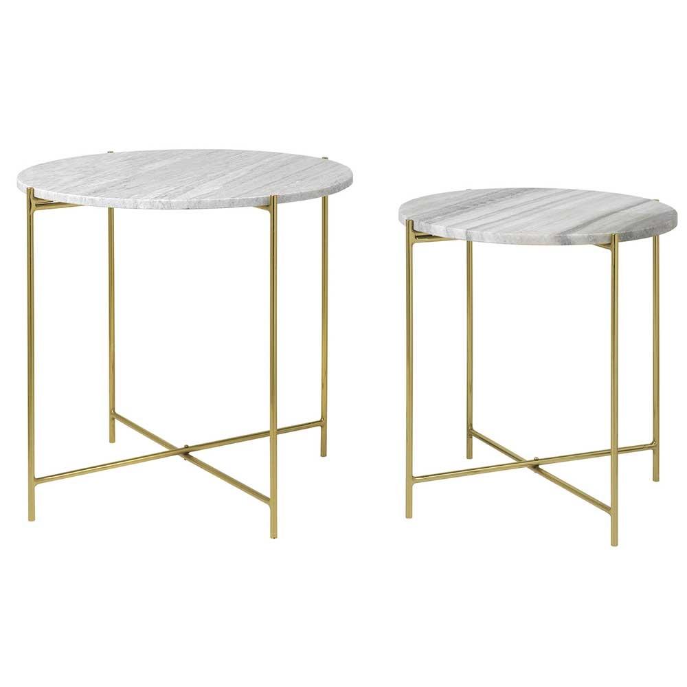 Groovy Rundt bord sæt Freja med hvid marmorplade og messing stel fra Cozy RB85