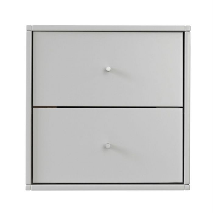 Square Reolen Sengebord i lys grå med 2 skuffer