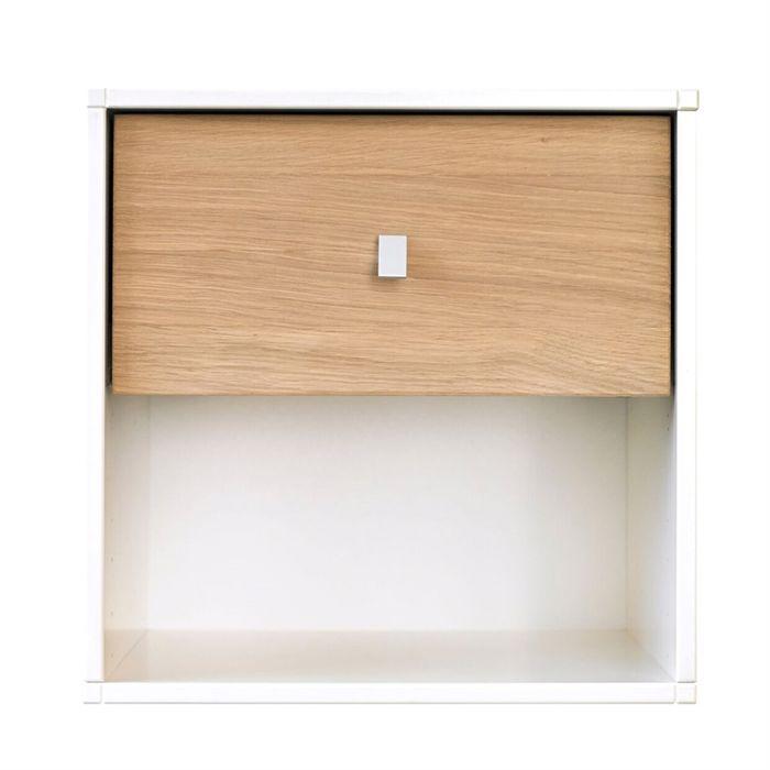 Square Reolen Sengebord i hvidt med skuffe i eg hvid olie
