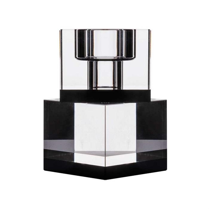 Lysestage Lyng krystalglas - sort