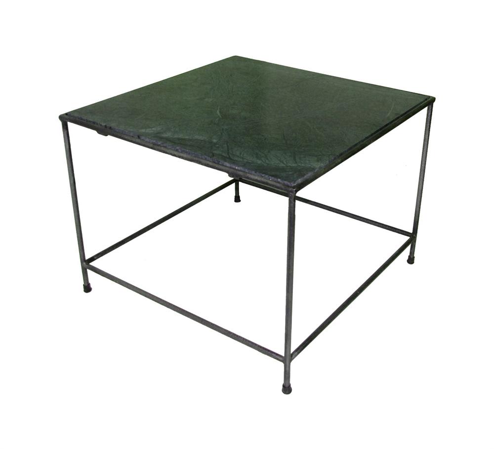 Sofabord Af Rundt Stål Og Grøn Marmor