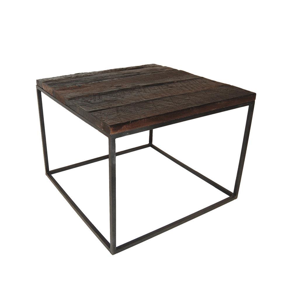 Oprindeligt Sofabord af stål og råt genbrugstræ | TLM0401 | Køb den lige her KV05