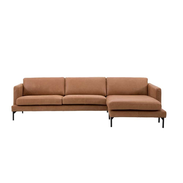 Lavar 3-personers Sofa i Vintage Cognac Læder med Chaiselong til Højre