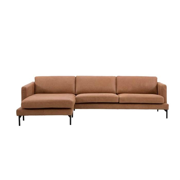 Lavar 3-personers Sofa i Vintage Cognac Læder med Chaiselong til Venstre